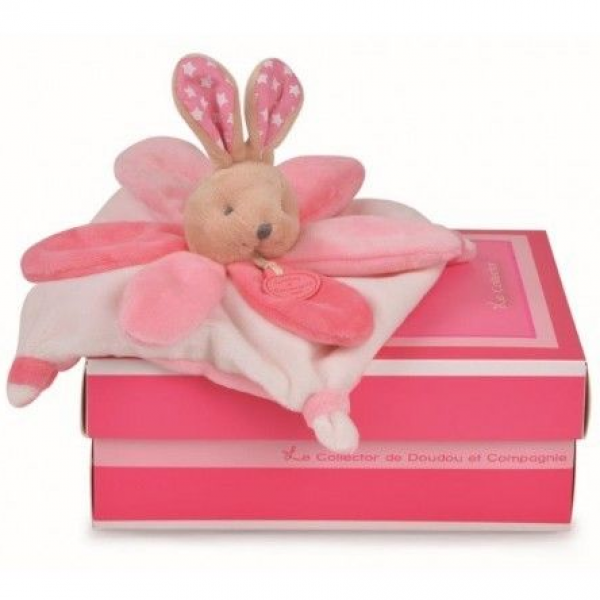 Doudou plat lapin collector rose 22 cm