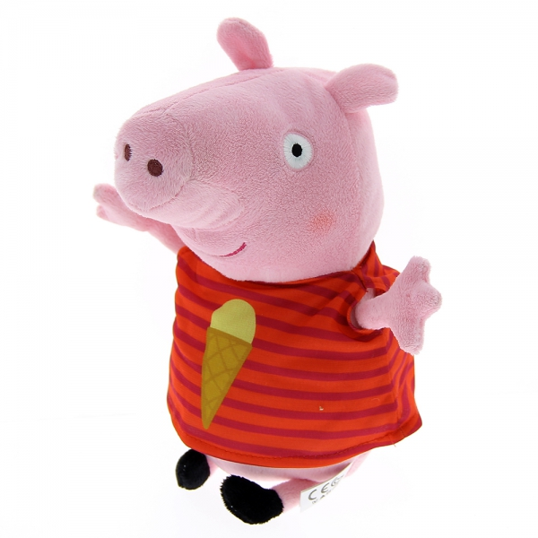 Peluche Peppa Pig rouge à rayures 27 cm