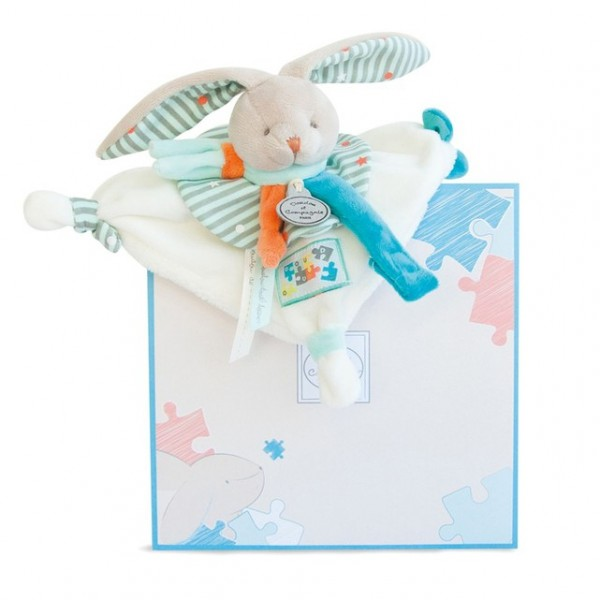 Doudou attache sucette lapin Happy 18 cm