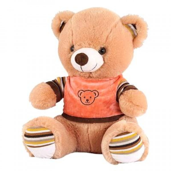 Nounours marron avec son tee-shirt orange 45 cm