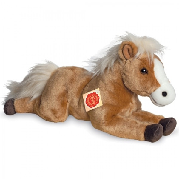 Peluche cheval marron clair couché 39 cm