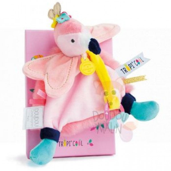 Doudou Flamand rose attache sucette  20 cm