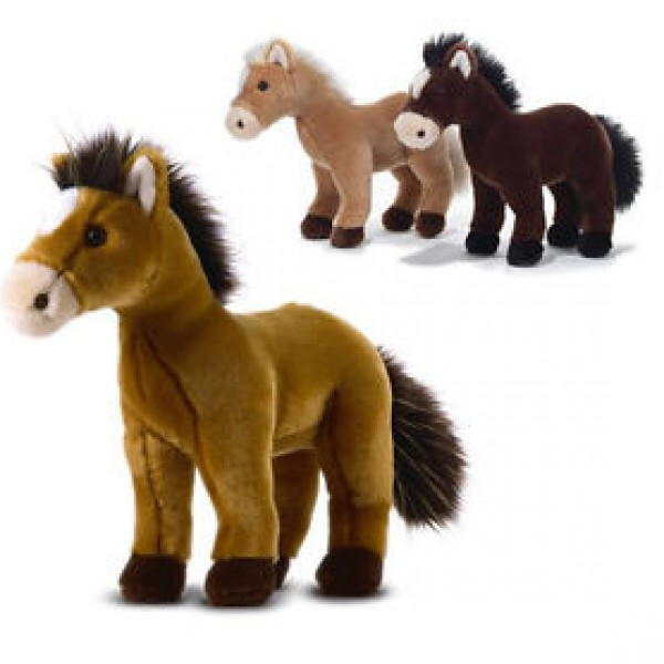 Peluche cheval marron clair 32 cm