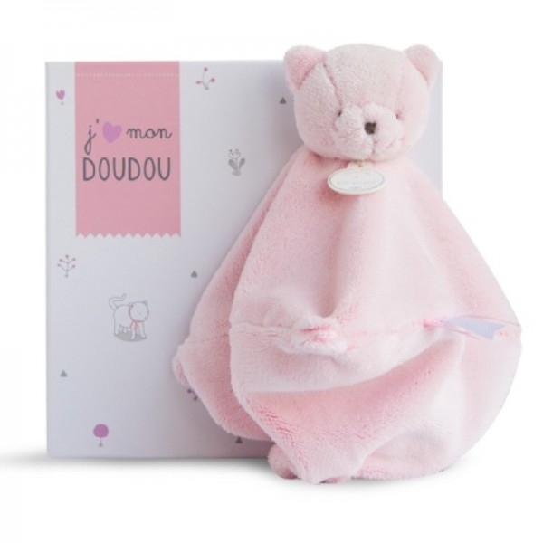 Doudou chat rose