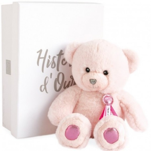 Peluche ours Charms rose sorbet 24 cm