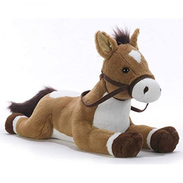 Peluche cheval marron couché 70 cm