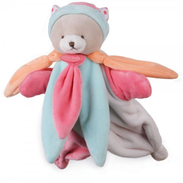 Doudou marionnette ours rose collector