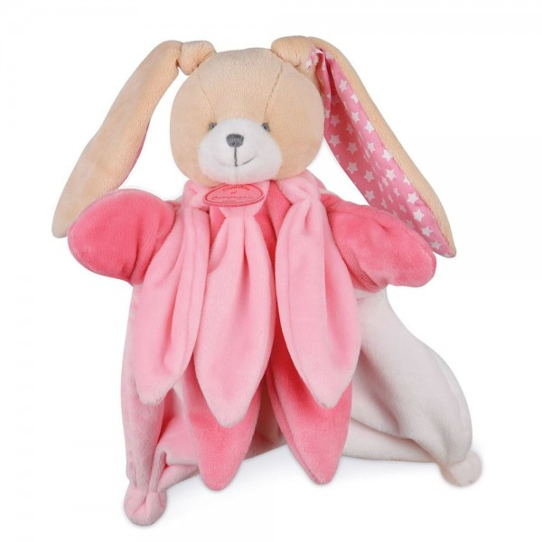 Doudou marionnette lapin rose collector