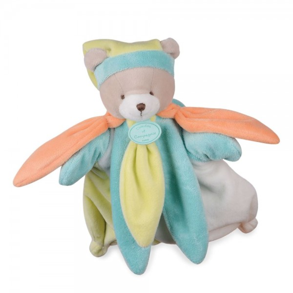 Doudou marionnette ours vert  collector