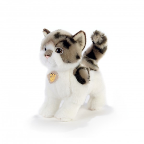 Peluche chat marron et blanc 28 cm