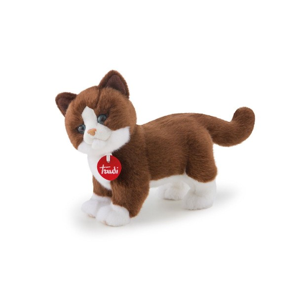 Peluche chat marron et blanc 24 cm