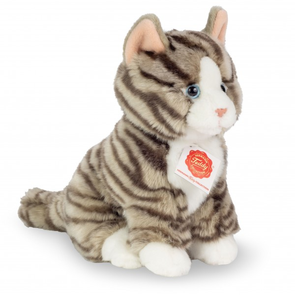 Peluche chat gris assis 21 cm