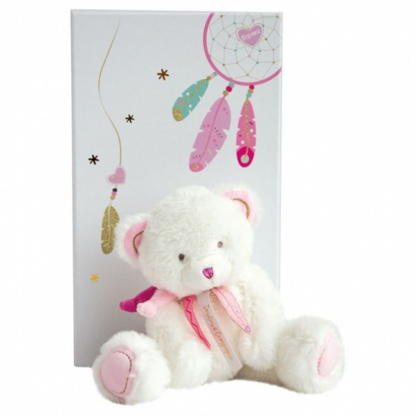 Peluche ours Attrape Rêves rose 22 cm