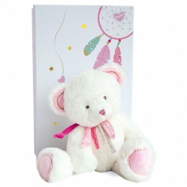 Peluche ours Attrape Rêves rose  30 cm