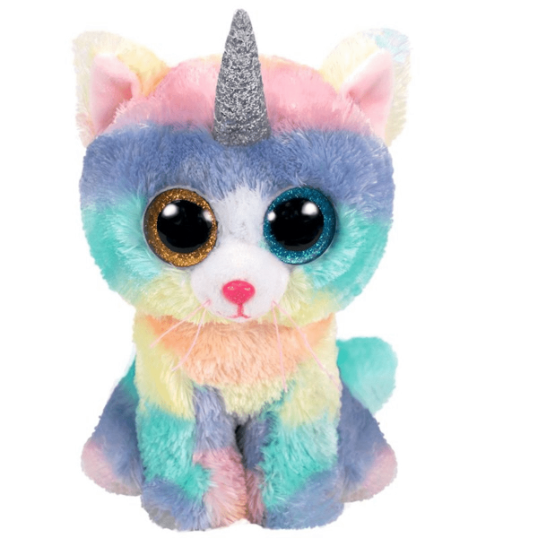 Peluche chat licorne Heather aux gros yeux 15 cm