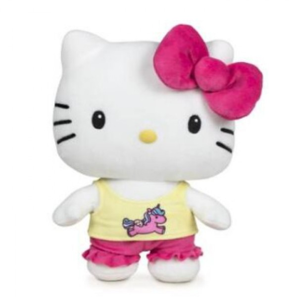 Peluche Hello Kitty noeud fushia 28 cm