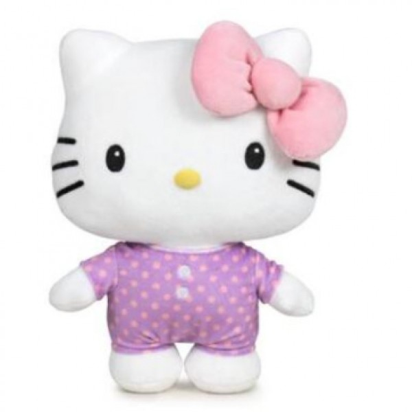 Peluche Hello Kitty noeud rose 28 cm