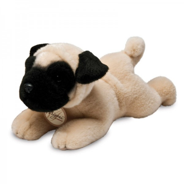 Peluche chien allongé Carlin 20 cm