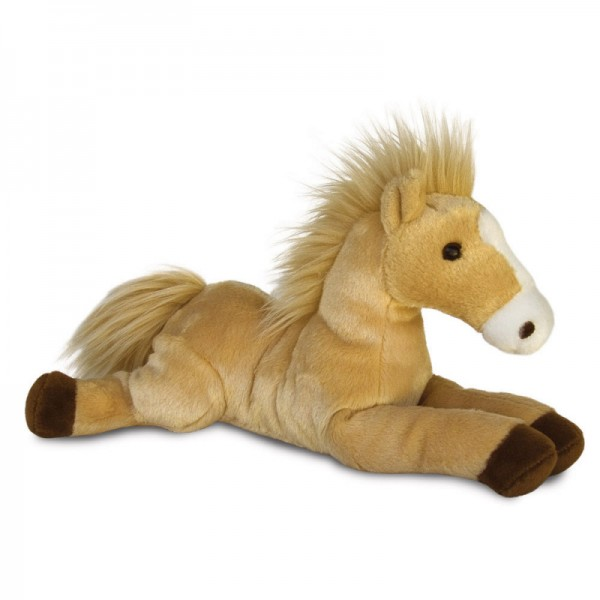 Peluche cheval marron  couché 30 cm