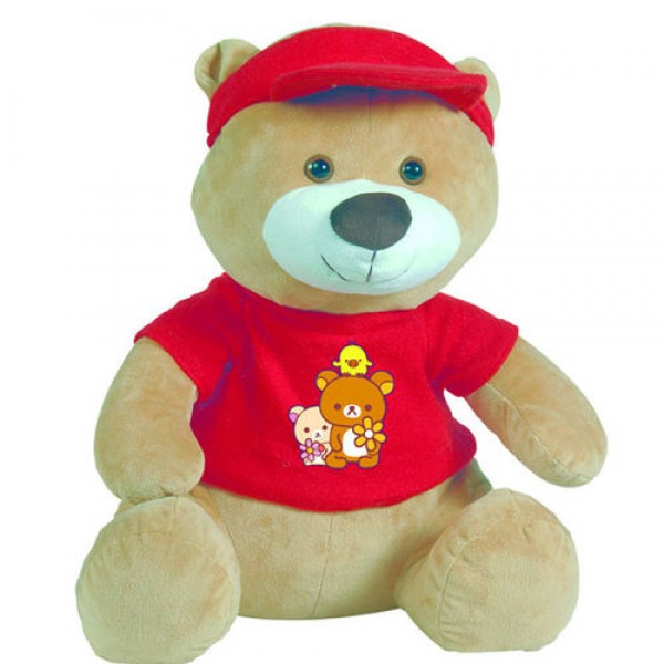 Nounours marron avec son tee-shirt rouge 22 cm