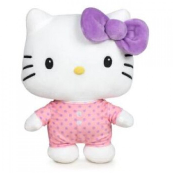 Peluche Hello Kitty noeud violet 45 cm